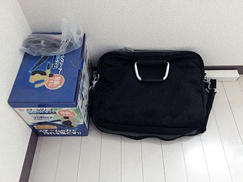 スチームクリーナーと無印良品のバッグ